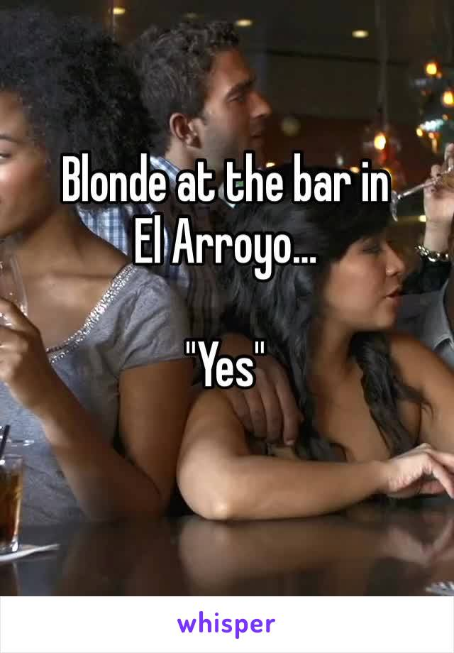 "Blonde at the bar in  El Arroyo…  ""Yes"""