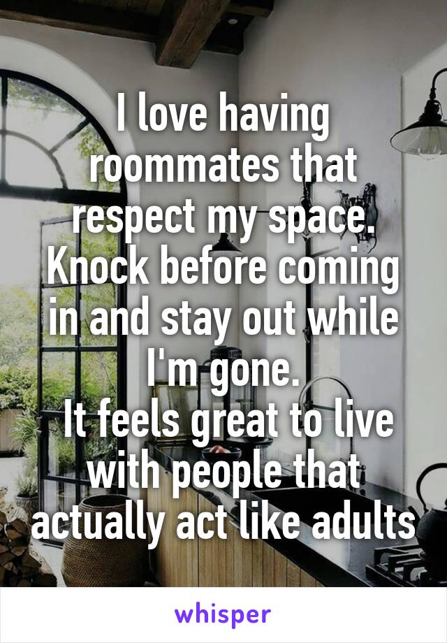 I love having roommates that respect my space. Knock before coming in and stay out while I'm gone.  It feels great to live with people that actually act like adults