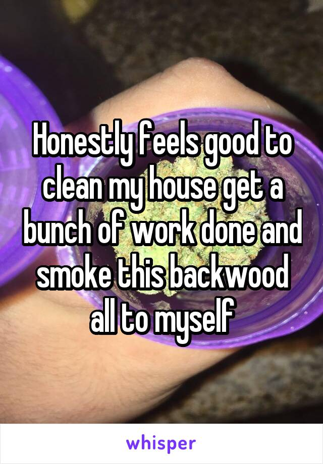 Honestly feels good to clean my house get a bunch of work done and smoke this backwood all to myself