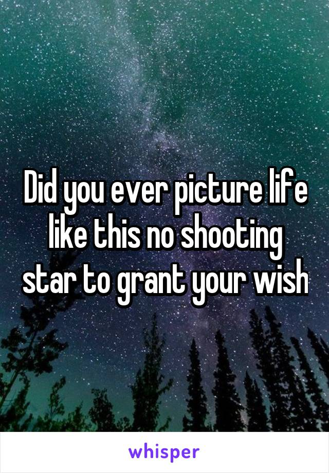 Did you ever picture life like this no shooting star to grant your wish