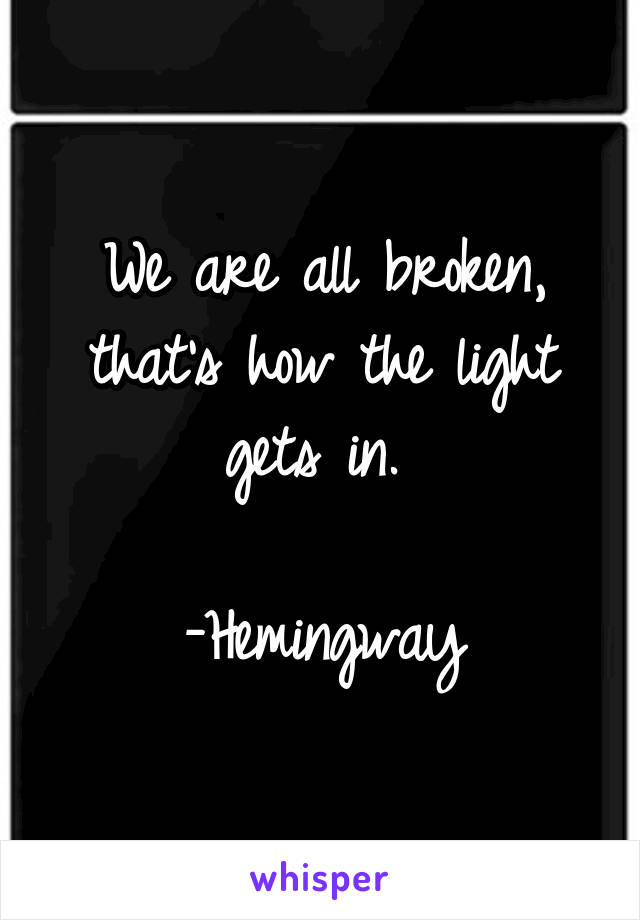 We are all broken, that's how the light gets in.   -Hemingway