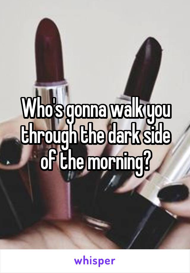 Who's gonna walk you through the dark side of the morning?