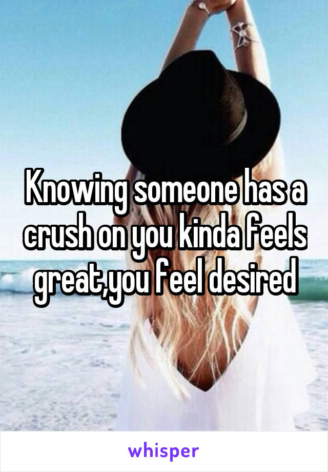 Knowing someone has a crush on you kinda feels great,you feel desired