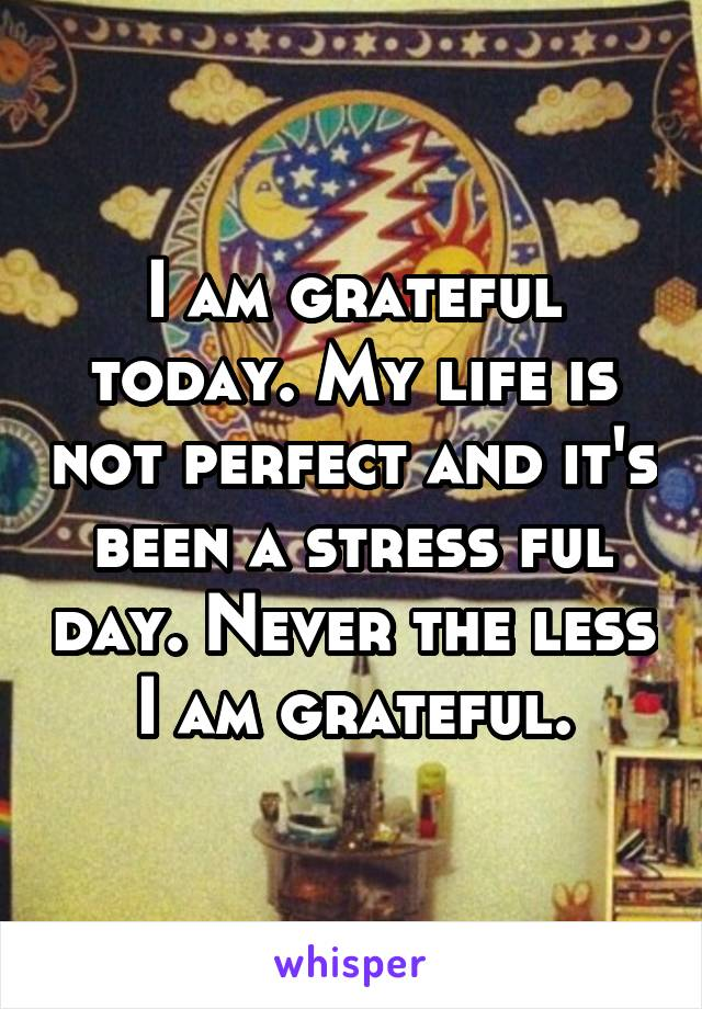 I am grateful today. My life is not perfect and it's been a stress ful day. Never the less I am grateful.