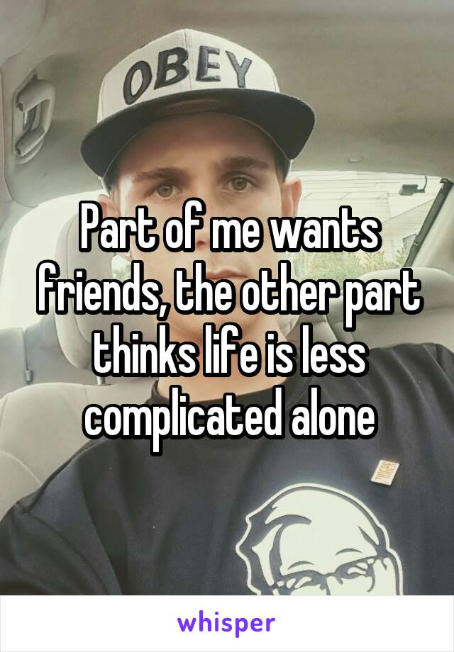 Part of me wants friends, the other part thinks life is less complicated alone