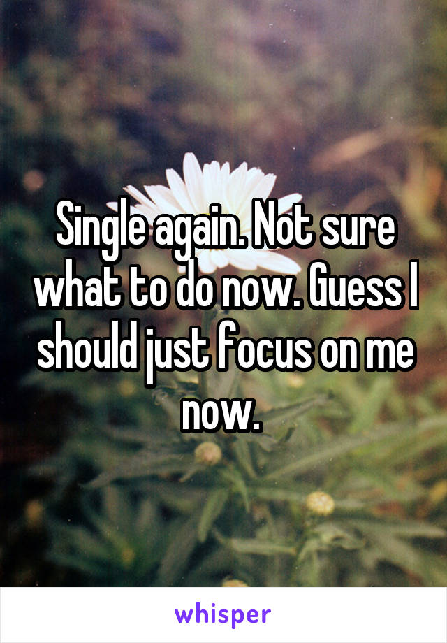 Single again. Not sure what to do now. Guess I should just focus on me now.