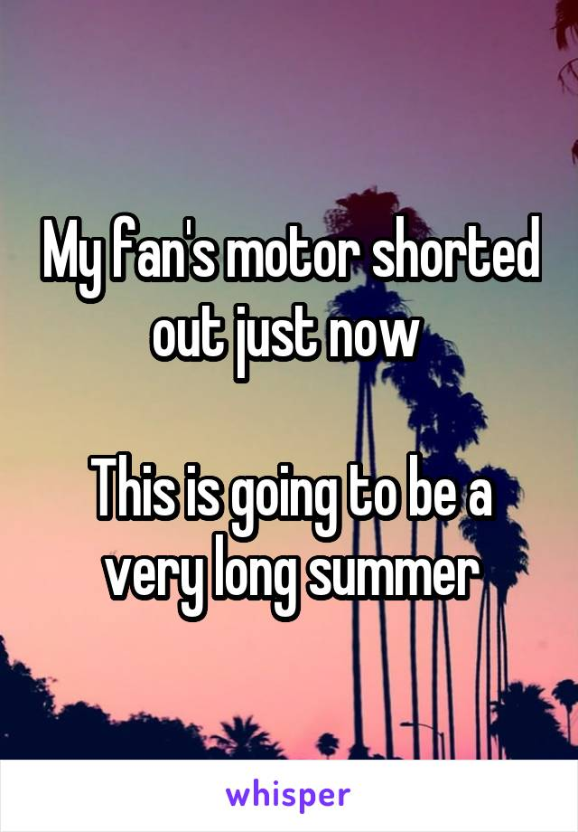 My fan's motor shorted out just now   This is going to be a very long summer