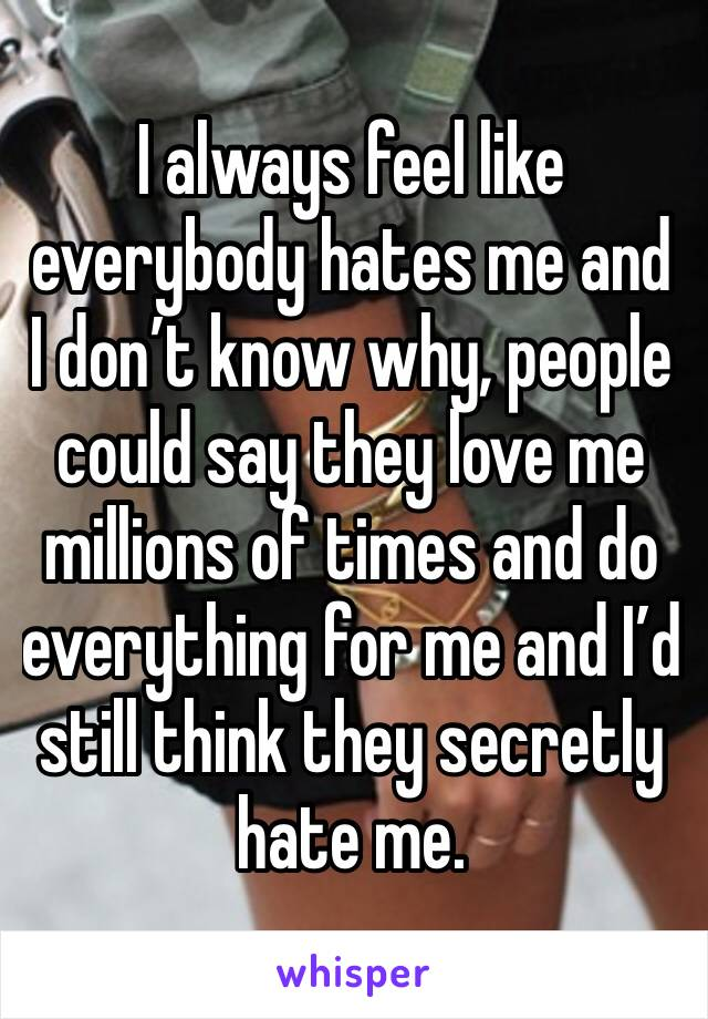 I always feel like everybody hates me and I don't know why, people could say they love me millions of times and do everything for me and I'd still think they secretly hate me.
