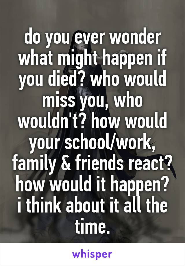 do you ever wonder what might happen if you died? who would miss you, who wouldn't? how would your school/work, family & friends react? how would it happen? i think about it all the time.