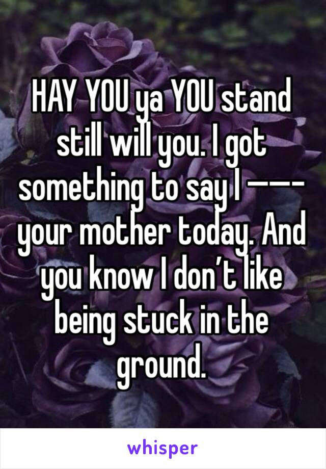 HAY YOU ya YOU stand still will you. I got something to say I ——- your mother today. And you know I don't like being stuck in the ground.