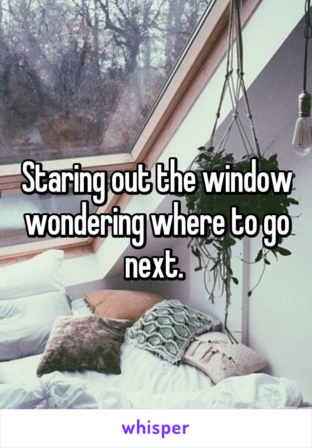 Staring out the window wondering where to go next.
