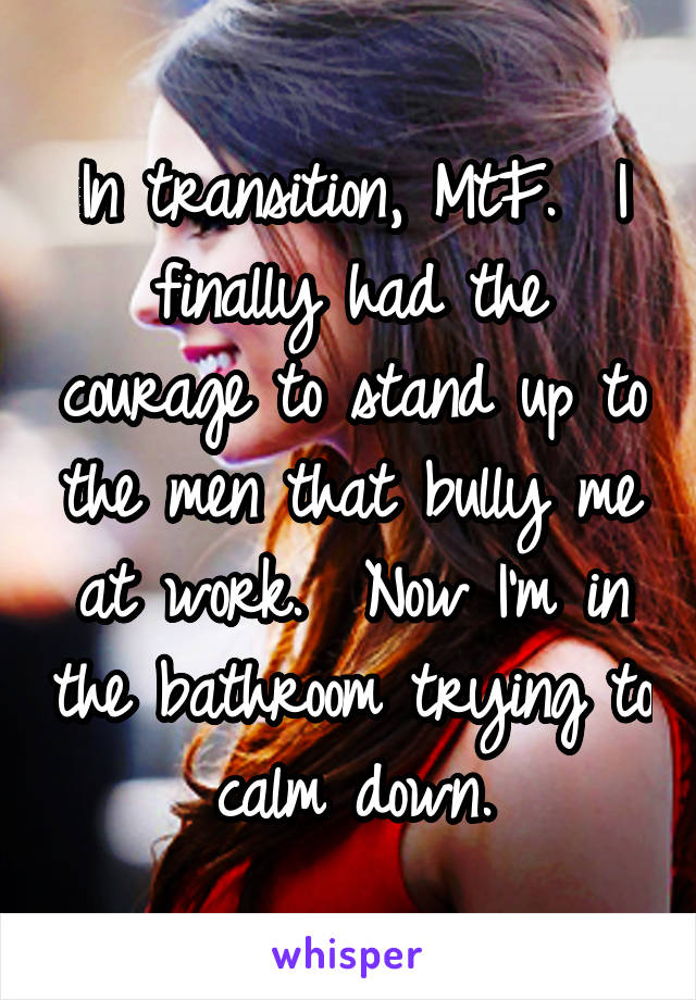 In transition, MtF.  I finally had the courage to stand up to the men that bully me at work.  Now I'm in the bathroom trying to calm down.