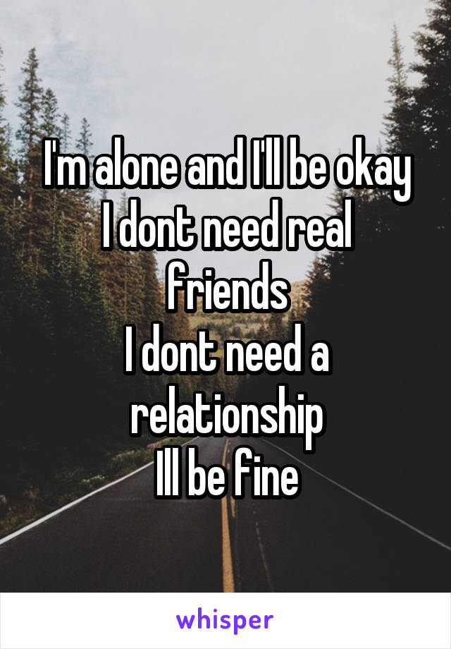 I'm alone and I'll be okay I dont need real friends I dont need a relationship Ill be fine