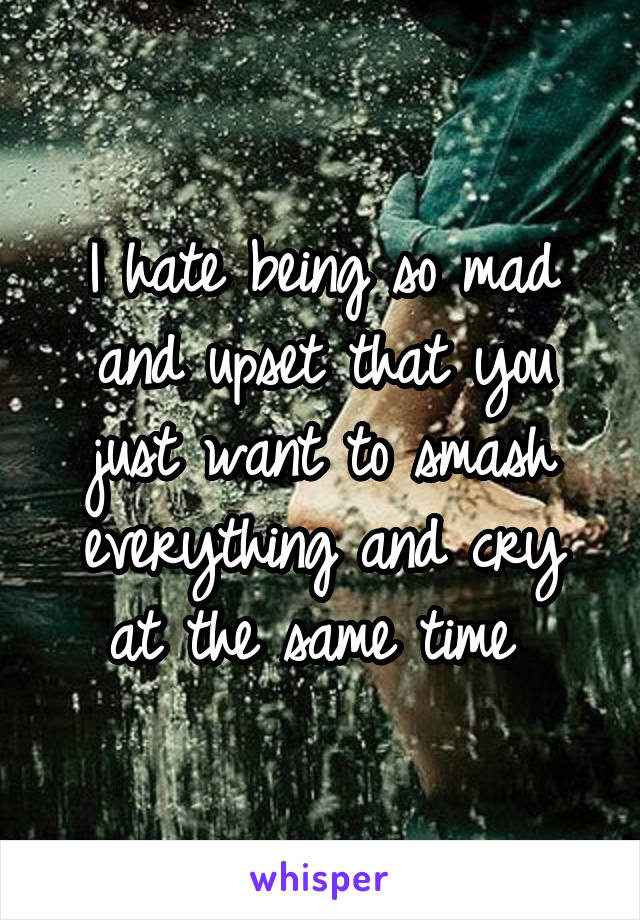 I hate being so mad and upset that you just want to smash everything and cry at the same time