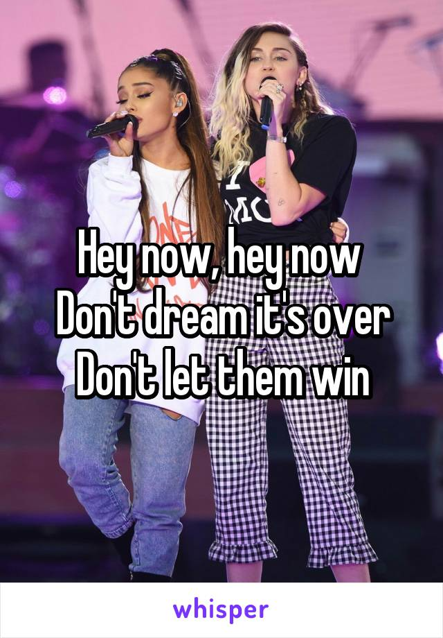 Hey now, hey now  Don't dream it's over Don't let them win