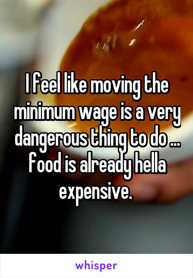 I feel like moving the minimum wage is a very dangerous thing to do ... food is already hella expensive.