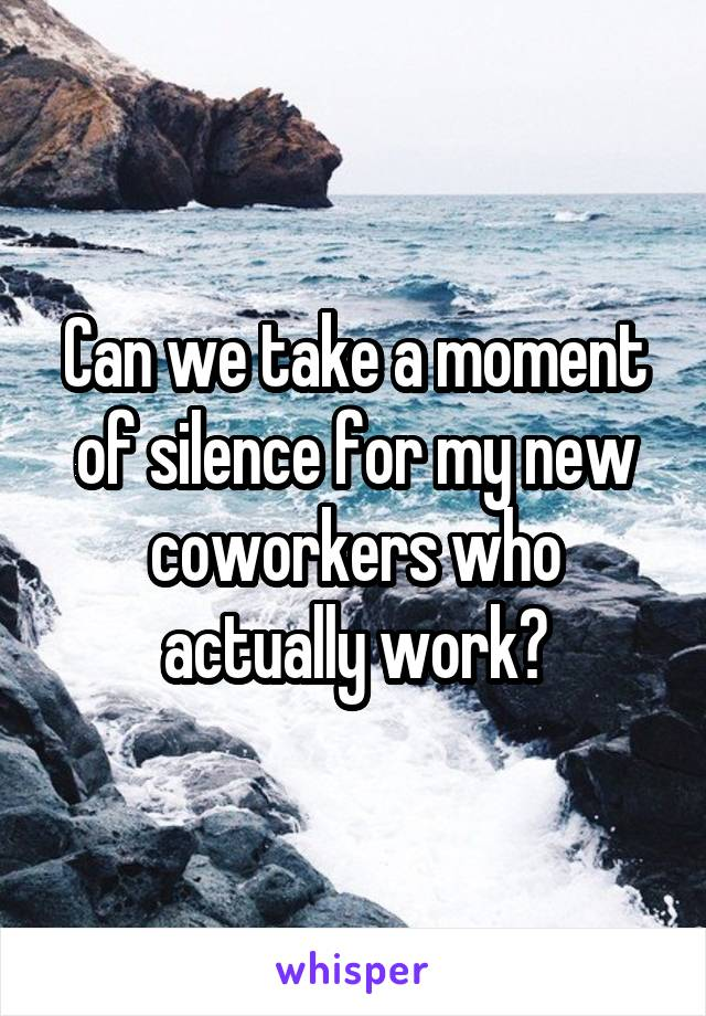 Can we take a moment of silence for my new coworkers who actually work?