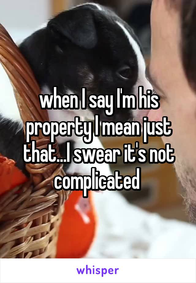 when I say I'm his property I mean just that...I swear it's not complicated
