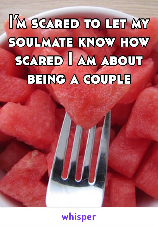 I'm scared to let my soulmate know how scared I am about being a couple