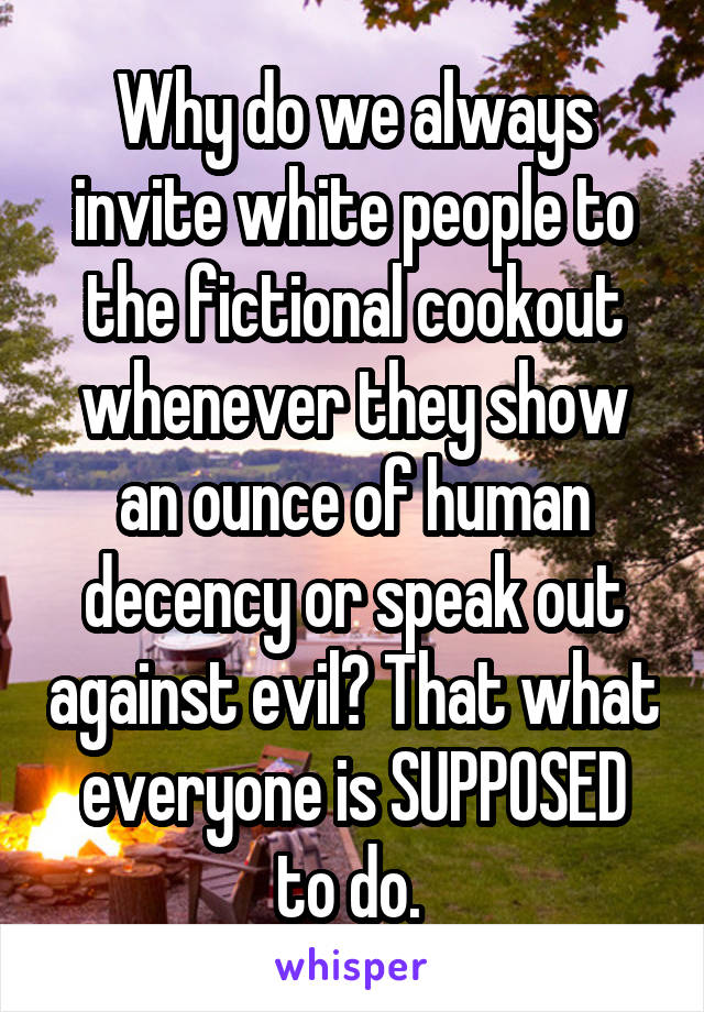 Why do we always invite white people to the fictional cookout whenever they show an ounce of human decency or speak out against evil? That what everyone is SUPPOSED to do.