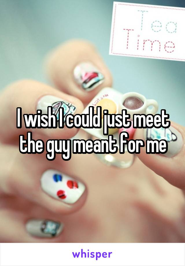 I wish I could just meet the guy meant for me