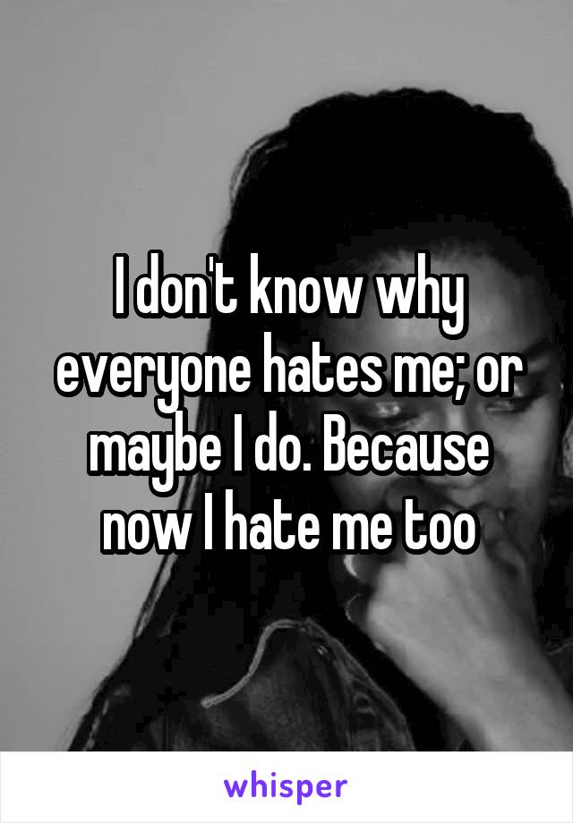 I don't know why everyone hates me; or maybe I do. Because now I hate me too