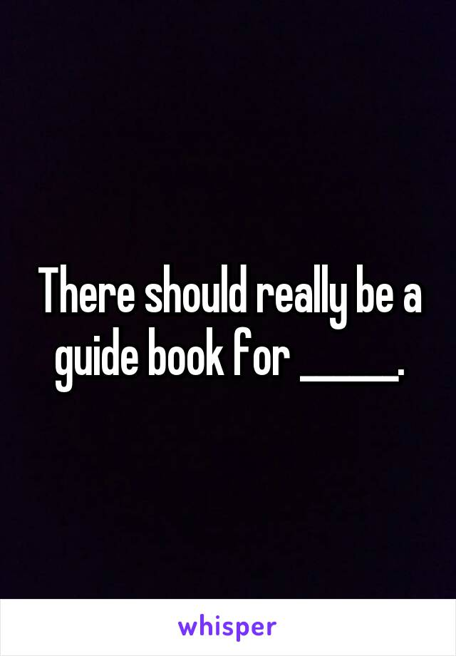 There should really be a guide book for ______.