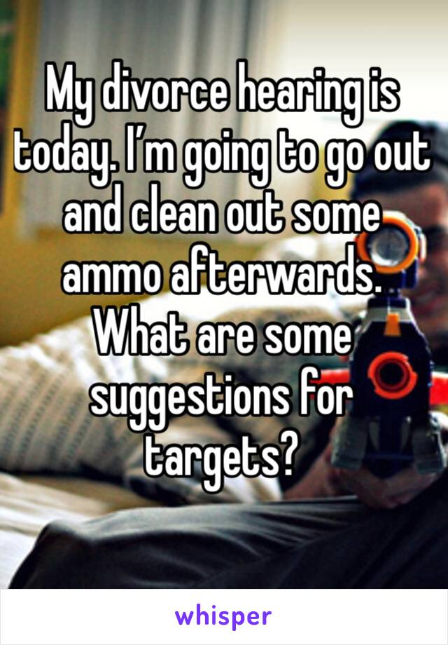 My divorce hearing is today. I'm going to go out and clean out some ammo afterwards. What are some suggestions for targets?