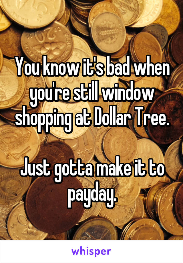 You know it's bad when you're still window shopping at Dollar Tree.  Just gotta make it to payday.