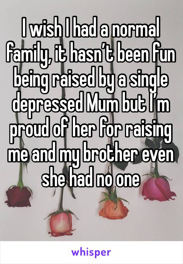 I wish I had a normal family, it hasn't been fun being raised by a single depressed Mum but I'm proud of her for raising me and my brother even she had no one