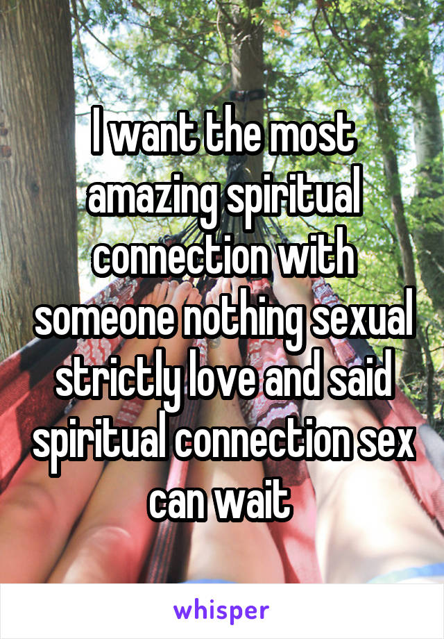 I want the most amazing spiritual connection with someone nothing sexual strictly love and said spiritual connection sex can wait