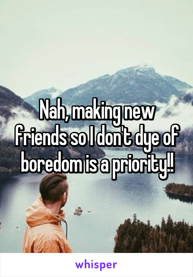 Nah, making new friends so I don't dye of boredom is a priority!!
