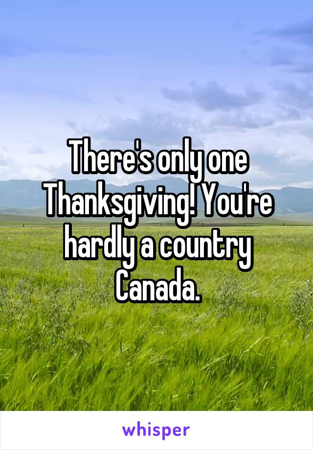 There's only one Thanksgiving! You're hardly a country Canada.