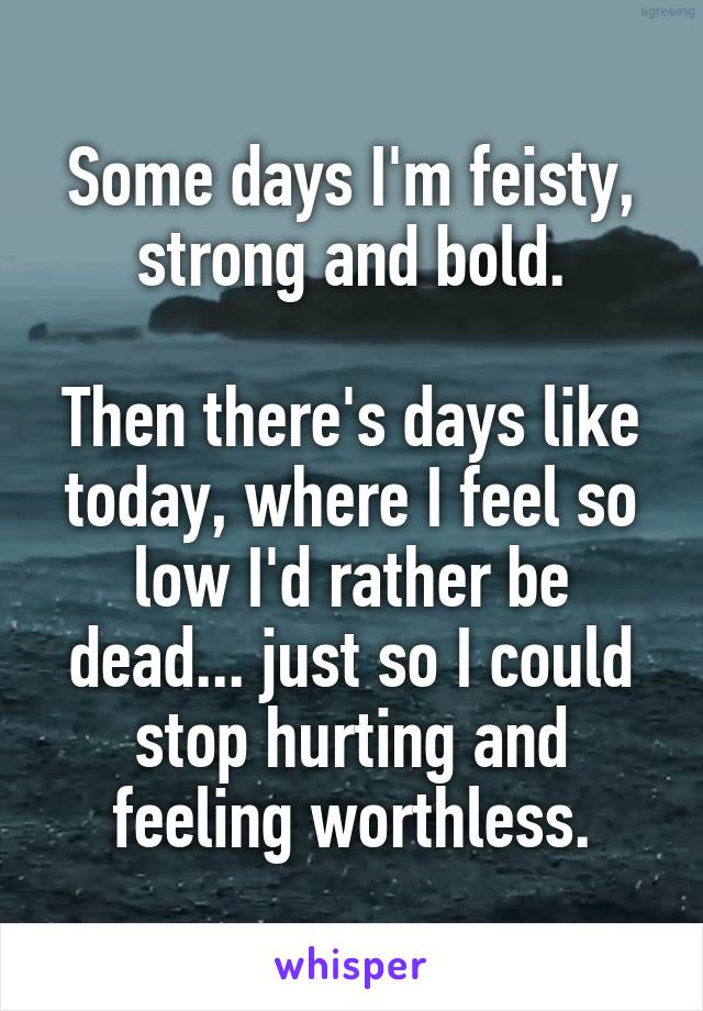 Some days I'm feisty, strong and bold.  Then there's days like today, where I feel so low I'd rather be dead... just so I could stop hurting and feeling worthless.