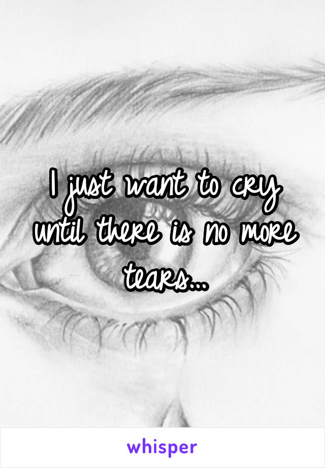 I just want to cry until there is no more tears...