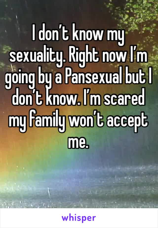 I don't know my sexuality. Right now I'm going by a Pansexual but I don't know. I'm scared my family won't accept me.