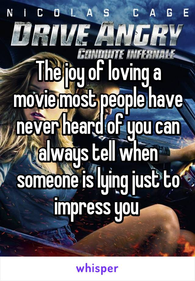 The joy of loving a movie most people have never heard of you can always tell when someone is lying just to impress you