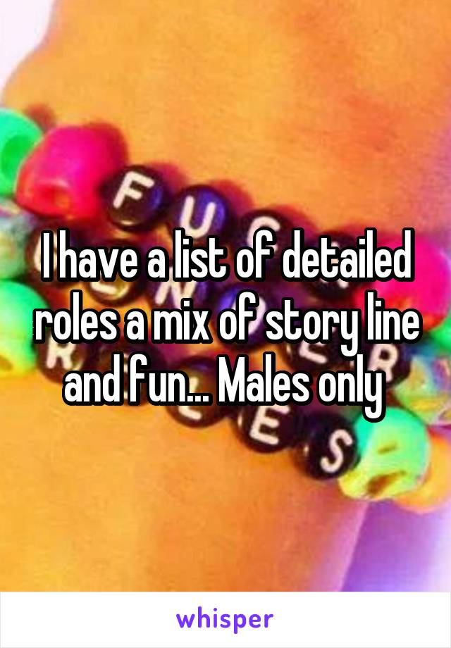 I have a list of detailed roles a mix of story line and fun... Males only