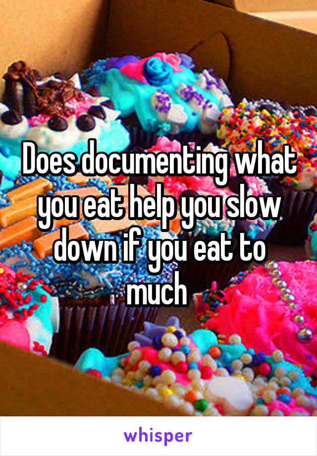 Does documenting what you eat help you slow down if you eat to much