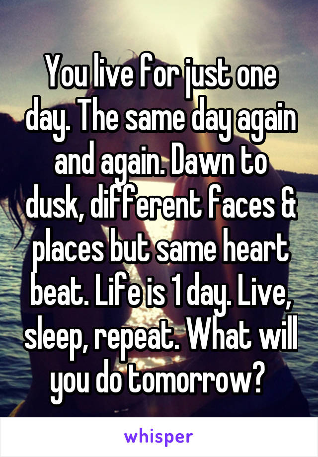 You live for just one day. The same day again and again. Dawn to dusk, different faces & places but same heart beat. Life is 1 day. Live, sleep, repeat. What will you do tomorrow?