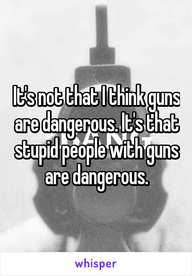 It's not that I think guns are dangerous. It's that stupid people with guns are dangerous.