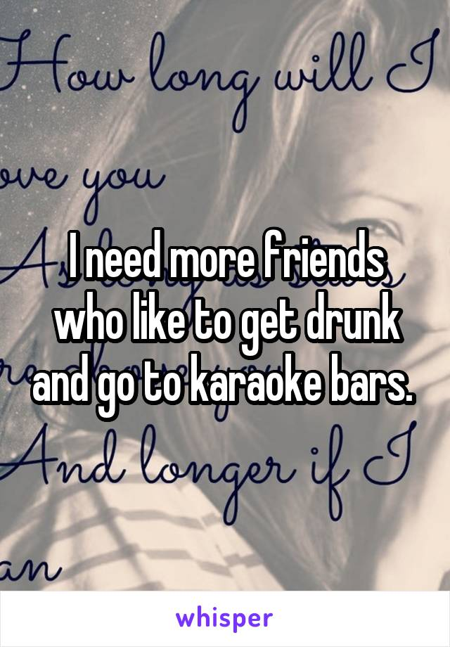 I need more friends who like to get drunk and go to karaoke bars.