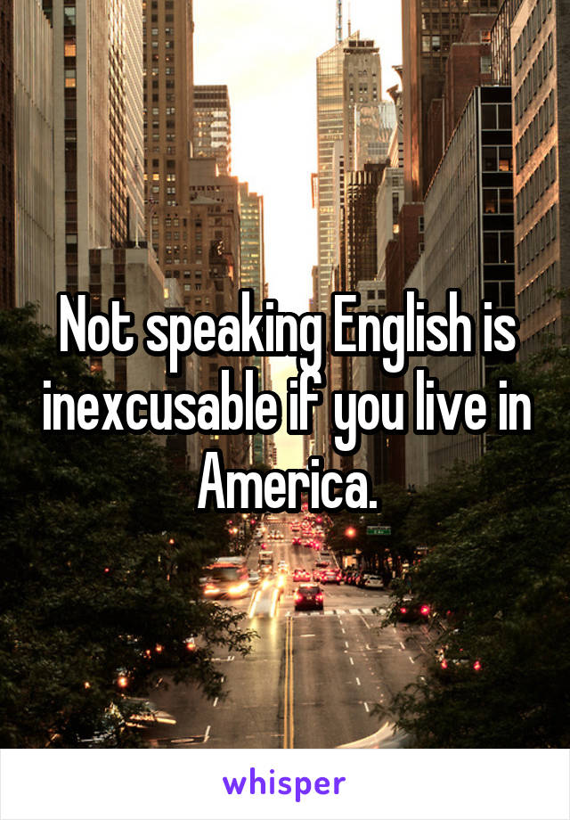Not speaking English is inexcusable if you live in America.
