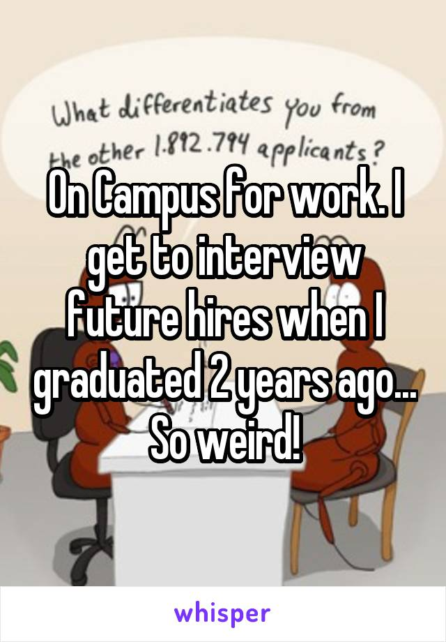 On Campus for work. I get to interview future hires when I graduated 2 years ago... So weird!