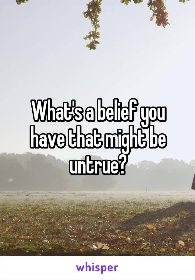 What's a belief you have that might be untrue?