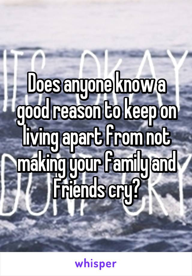 Does anyone know a good reason to keep on living apart from not making your family and Friends cry?