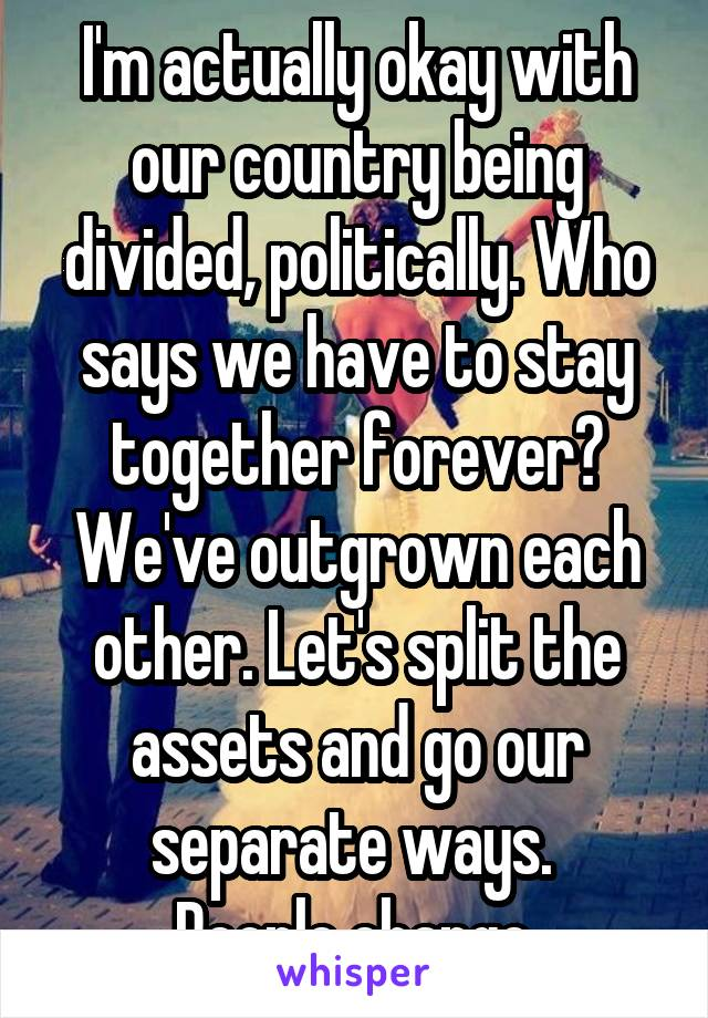 I'm actually okay with our country being divided, politically. Who says we have to stay together forever? We've outgrown each other. Let's split the assets and go our separate ways.  People change.