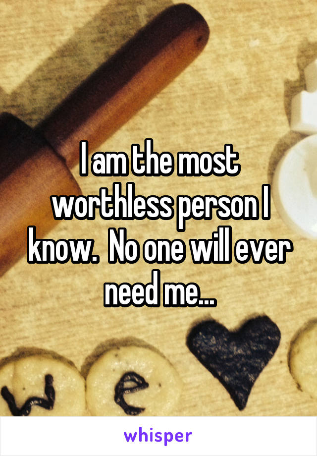 I am the most worthless person I know.  No one will ever need me...