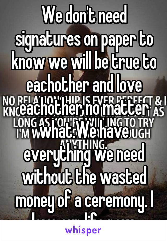 We don't need signatures on paper to know we will be true to eachother and love eachother no matter what.We have everything we need without the wasted money of a ceremony. I love our life now.