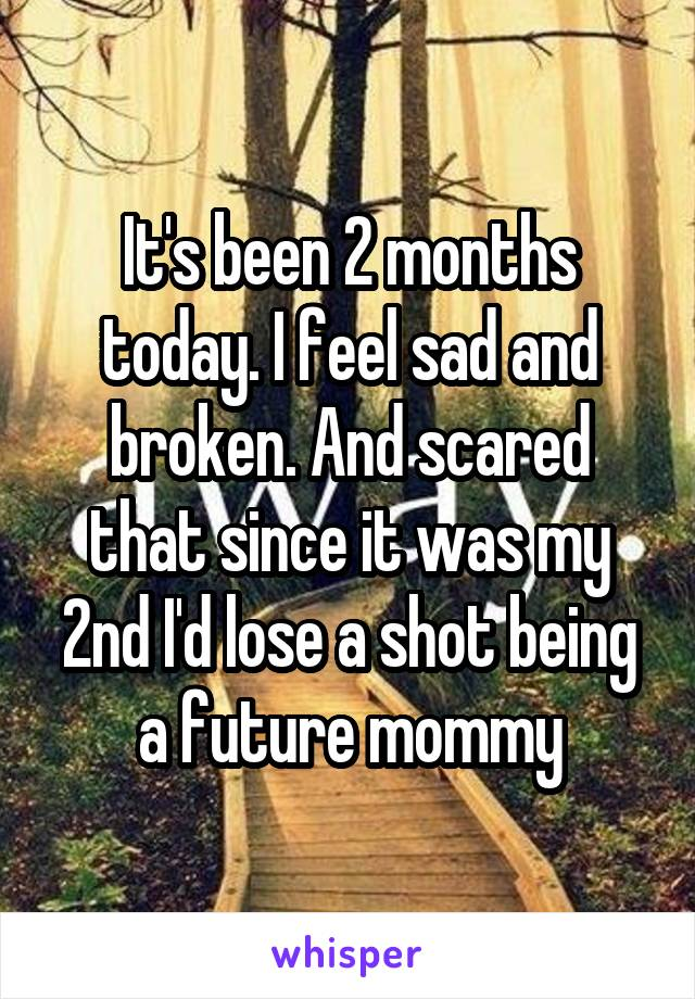 It's been 2 months today. I feel sad and broken. And scared that since it was my 2nd I'd lose a shot being a future mommy